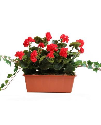 géraniums artificiels, rouge (3 pièces) en boîte balcon de 40 cm, terracota. Protégé contre les UV !