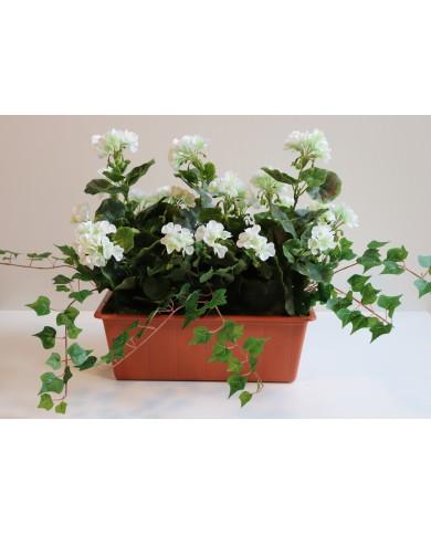 géraniums artificiels, blancs (3 pièces) en boîte balcon de 40 cm, terracota. Protégé contre les UV !