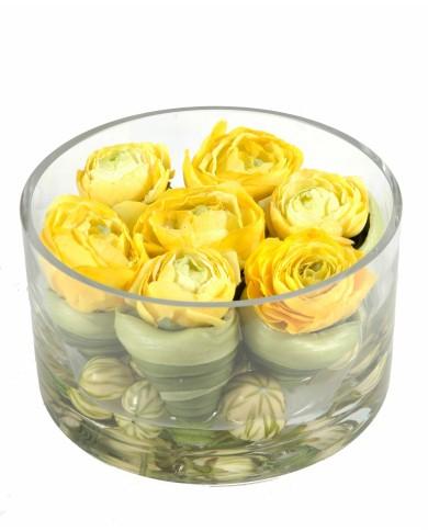 Künstliches Blumen-Arrangement Ranunkel, ca. 9cm - gelb