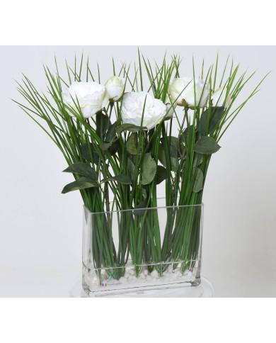 Blumenbouquet grün-weiss, ca. 40cm
