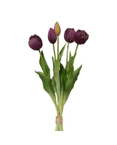 Gefüllte Tulpen 5er Bund, ca 39cm, purple