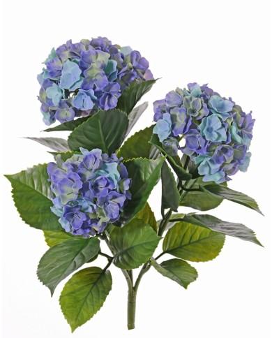 Künstliche Hortensie blau, ohne Topf - mit Einsteckstab, ca. 43cm (UV-Beständig)
