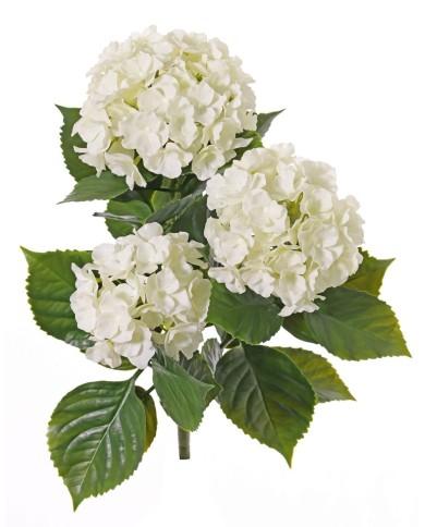 Künstliche Hortensie weiss, ohne Topf - mit Einsteckstab, ca. 43cm (UV-Beständig)