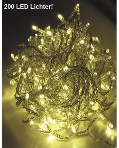 200 LED chaîne d'éclairage, câble transparent extérieur/intérieur blanc chaud